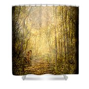 Forest Butterfly Moon Shower Curtain
