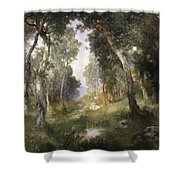 Forest Glade Shower Curtain by Thomas Moran