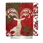 Forest Holiday Christmas Deer Shower Curtain