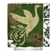 Forest Holiday Christmas Goose Shower Curtain