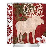 Forest Holiday Christmas Moose Shower Curtain