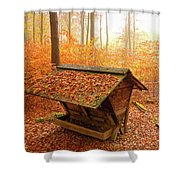 Forest In Autumn With Feed Rack Shower Curtain