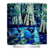 Forest In Water Shower Curtain