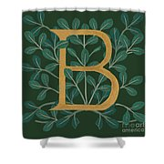 Forest Leaves Letter B Shower Curtain