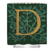 Forest Leaves Letter D Shower Curtain