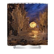 Forest Moonrise Glow Shower Curtain