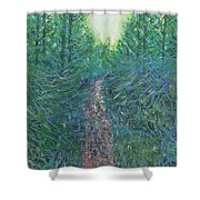 Forest Of Green And Blue Shower Curtain