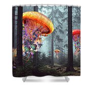 Forest Of Jellyfish Worlds Shower Curtain