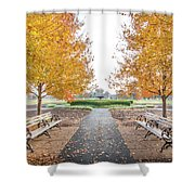 Forest Park Benches Shower Curtain