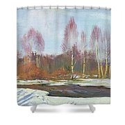 Forest River In Winter Shower Curtain