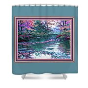 Forest River Scene. L B With Alt. Decorative Ornate Printed Frame. No. 1 Shower Curtain