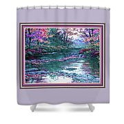 Forest River Scene. L B With Decorative Ornate Printed Frame. Shower Curtain