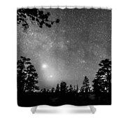 Forest Silhouettes Constellation Astronomy Gazing Shower Curtain