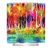 Forest Stream Shower Curtain by Darren Cannell