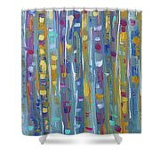 Forest Through The Trees, Abstract Art Shower Curtain