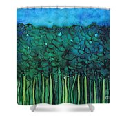 Forest Under The Full Moon - Abstract Shower Curtain