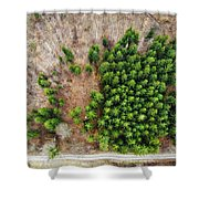 Forest With Green Trees From Above Shower Curtain