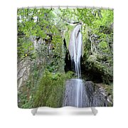 Forest With Waterfall Shower Curtain