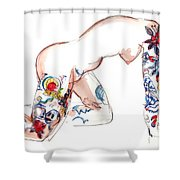 Forever Amber - Tattoed Nude Shower Curtain