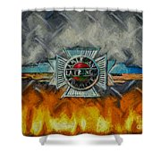 Forged In Fire - Vintage American Lafrance - Oil Shower Curtain