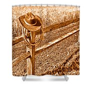Forgetting Texas - Sepia Shower Curtain