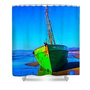 Forgotten Green Boat Shower Curtain