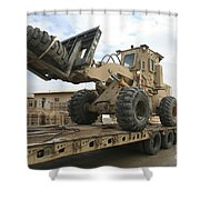 Forklift Is Unloaded Off Of A Logistics Shower Curtain by Stocktrek Images