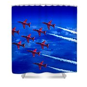 Formation Flying Britains Red Arrows Shower Curtain