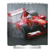 Formula One Burning The Track Shower Curtain