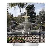 Forsyth Fountain Park Shower Curtain