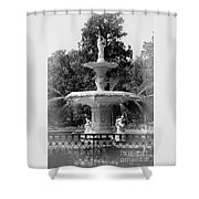 Forsyth Park Fountain Black And White With Vignette Shower Curtain