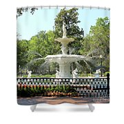 Forsyth Park Fountain Square Shower Curtain