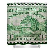 Fort Dearborn Postage Stamp Shower Curtain