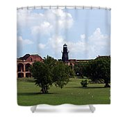 Fort Jefferson Parade Grounds And Harbor Light Shower Curtain