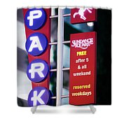 Fort Worth Parking Sign Digital Oil Paint Shower Curtain