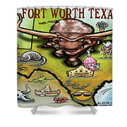 Fort Worth Texas Cartoon Map Shower Curtain