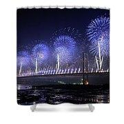 Forth Road Bridge Fireworks Shower Curtain