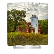 Forty Mile Point Lighthouse Lake Huron Lower Peninsilat Mi  Shower Curtain