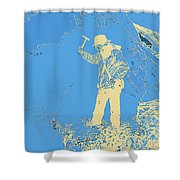 Fossil Hunter Blue Yellow Shower Curtain