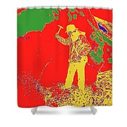 Fossil Hunter Red Yellow Green Shower Curtain