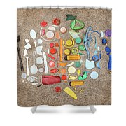 Found Items Rainbow Shower Curtain