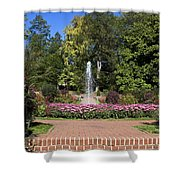 Fountain Among Flowers Shower Curtain