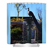 Fountain And Peacock Shower Curtain