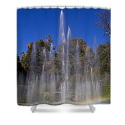 Fountain And Rainbow Shower Curtain