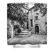 Fountain Courtyard In Eze, France 2, Blk White Shower Curtain