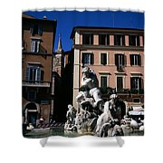 Fountain Depicting Neptune The Piazza Navona The Spire Of The Church Of Santa Maria Della Pace Rome Shower Curtain