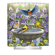 Fountain Festivities - Birds And Birdbath Painting Shower Curtain by Crista Forest