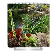 Fountain Flowers Shower Curtain