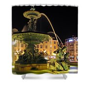 Fountain In Rossio Square Shower Curtain