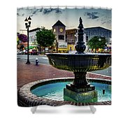 Fountain In Small Town Shower Curtain